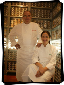 Juan Mari and Elena Arzak with their library of aromas. (Courtesy of Restaurante Arzak)